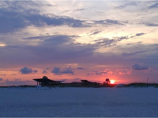 Sunset over the pavillion