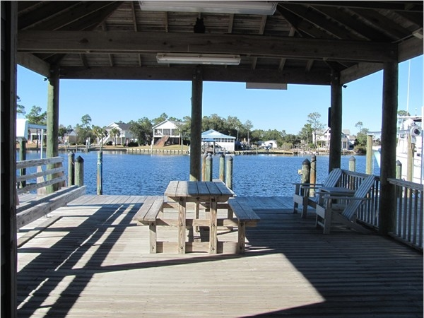 The dock at Palm Harbor has a nice place to sit and watch the boats go by