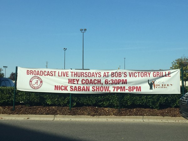 "Bob's Victory Grille hosts the wildly popular ""Hey Coach"" show Tuesday nights in football season"
