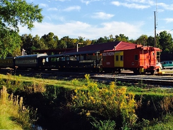 Heart of Dixie Railroad Museum: The train is gathering passengers for a ride to the Pumpkin Patch.