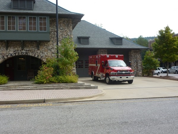 The Mt. Laurel Fire Station blends in with the rest of the architecture of the town square.