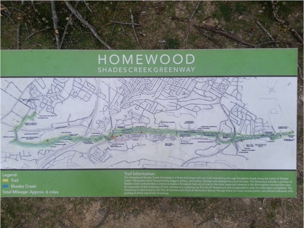 Map of the Shades Creek Greenway Trail
