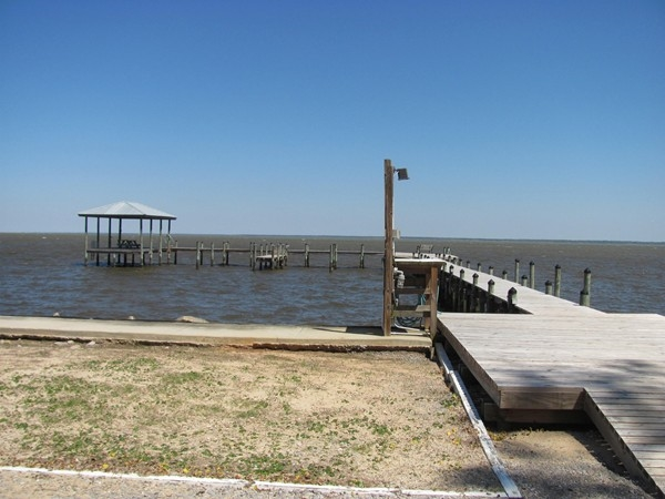 The Bay Gardens fishing pier is first come, first serve. The boat dock is overlooking Mobile Bay.
