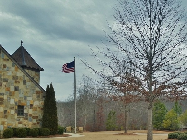 Flag flys at the Ballantrae Pelham Fire Station -- Beautiful site even on a cloudy day