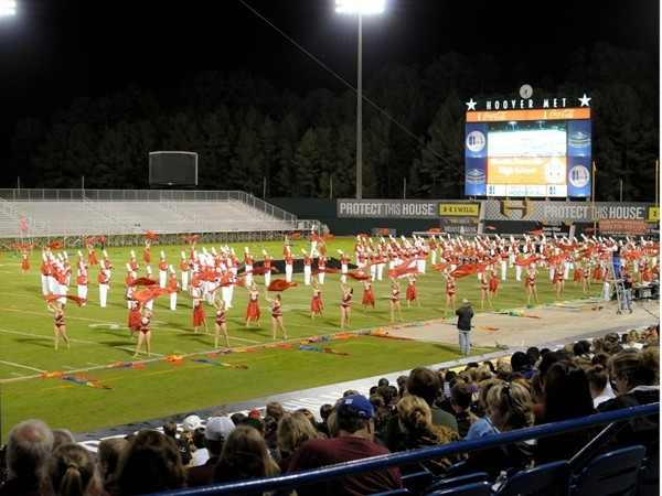 Hewitt-Trussville award winning marching band performing at halftime at the Hoover Met