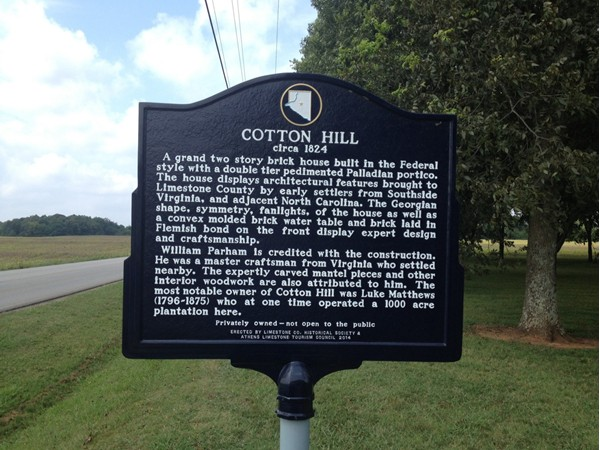 Cotton Hill circa 1824, on Browns Ferry Rd west of Madison