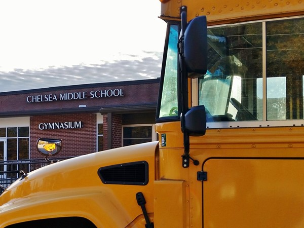 A bus is ready for a pick up at Chelsea Middle School