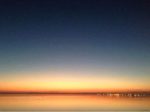 Mobile Bay at dusk from I-10