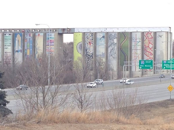 Artwork on the old grain silos near 34th and I-80