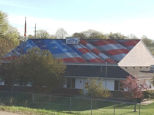 Amvets Post 49 adorns a permanent thank you to local hero Taylor Morris. A flag for all to see