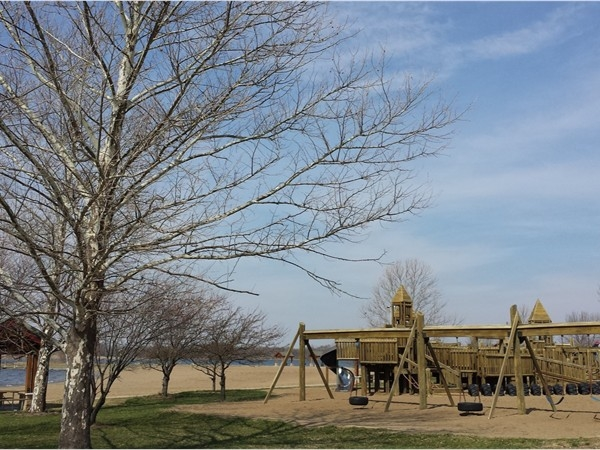 Big Creek State Park's free public beach has a huge wooden playground!