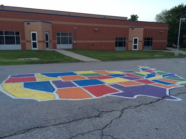 Beautifully painted USA map on the playground at Southeast Elementary School.