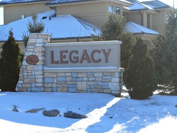 Legacy neighborhood entrance -- luxury homes in southwest Omaha