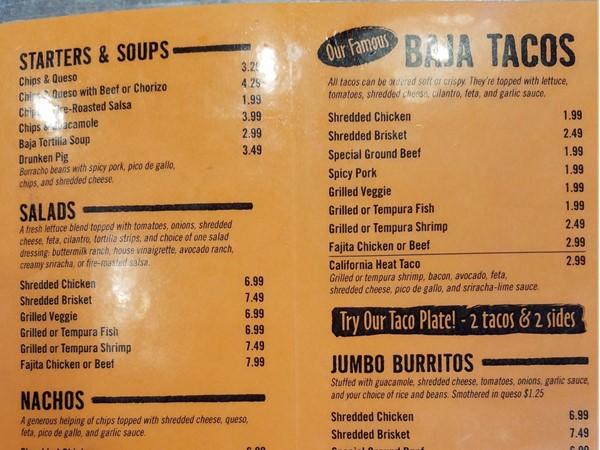 Fuzzy's Taco Shop menu