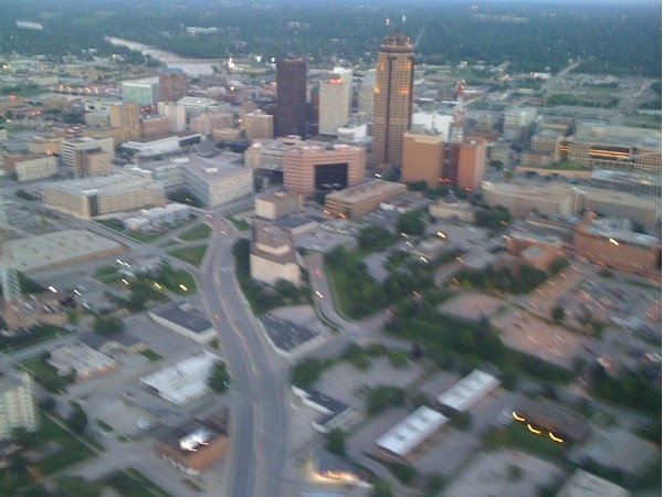 Aerial view of downtown Des Moines
