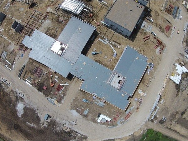 View from high above the construction site of the new Johnston High School