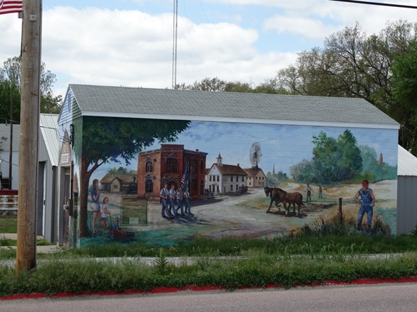 An Americana mural in downtown Bennet