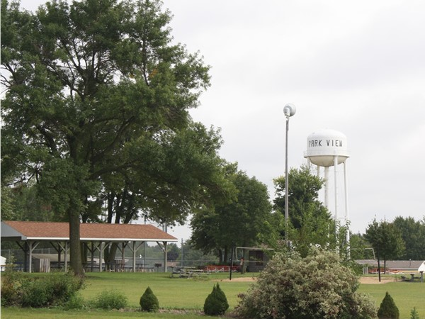 Park View water tower, softball/baseball fields and volleyball court