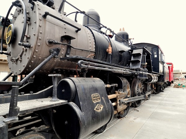 A historic locomotive, on permanent display near Lincoln Station building