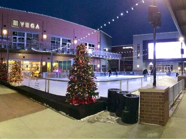 Ice skating with new big screen downtown Lincoln