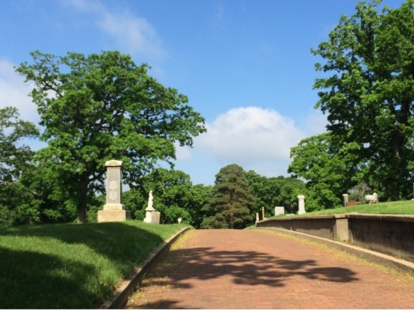 An uphill view of Woodland Cemetery