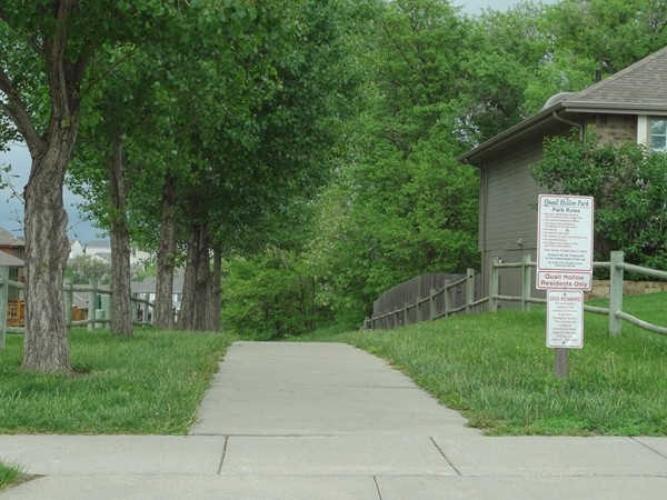 Walking trail in Quail Hollow leads you through the park.