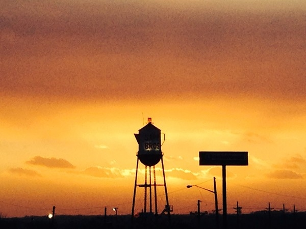 Sapp Brothers Coffeepot with a gorgeous Nebraska sunset
