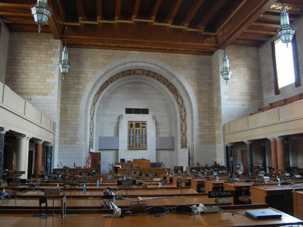 George W. Norris Chamber, West side, is home to the Nebraska Unicameral