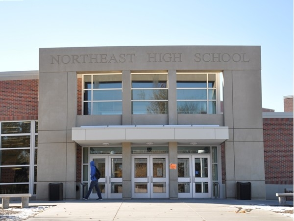 Front entrance to newly remolded Lincoln Northeast High School