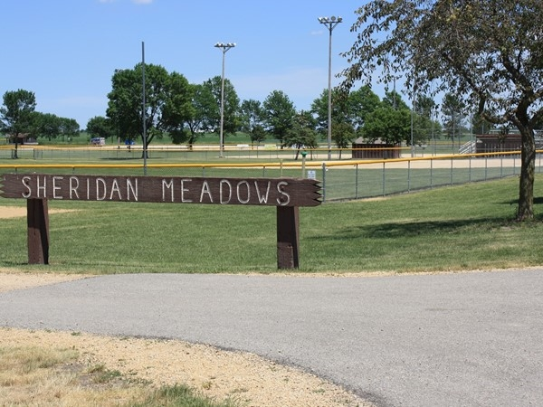 Sheridan Meadows has baseball, softball, volleyball, workout equipment, and a pavilion