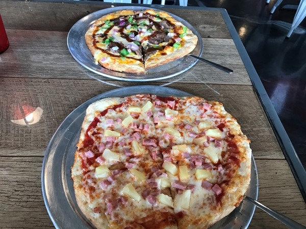 Hawaiian and Philly Pizzas from Urban Pie