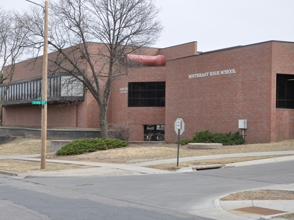 Outside of Southeast High School located near Lincoln's Near South and Country Club neighborhoods