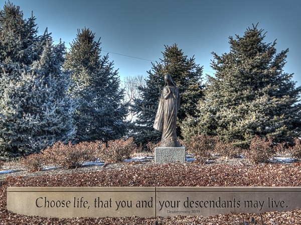 """""""Choose life, that you and your descendants may live"""" near St. Vincent de Paul in Champions Run"""