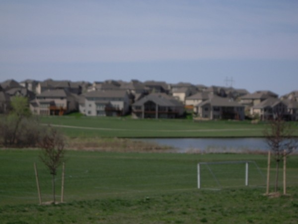 View of homes on the lake in Whitehawk subdivision.