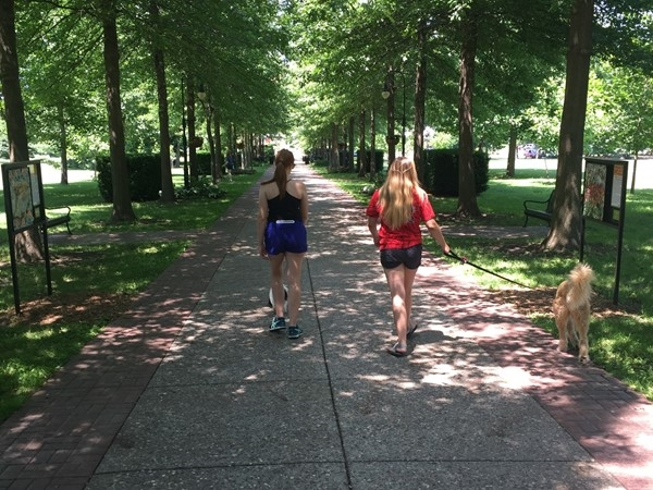 Strolling Vander Veer Park in the summer time
