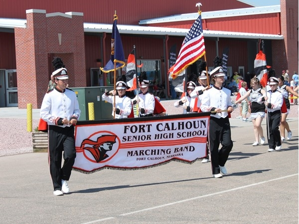 The Fort Calhoun Pioneer High School Marching Band performs at the Nebraska State Fair