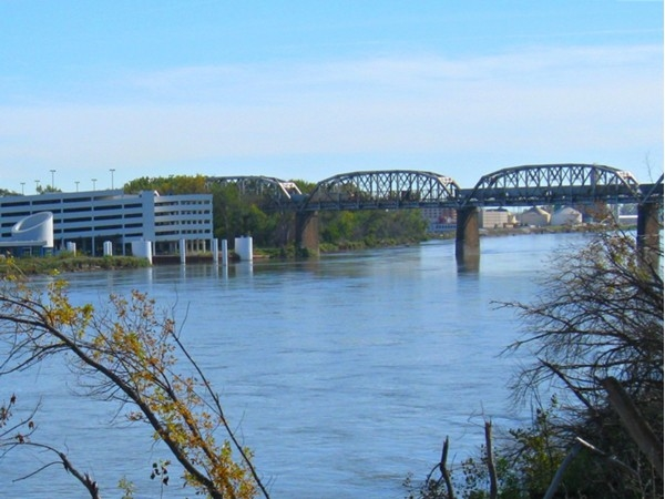 Missouri Riverfront and view to the east (Iowa) in downtown Omaha