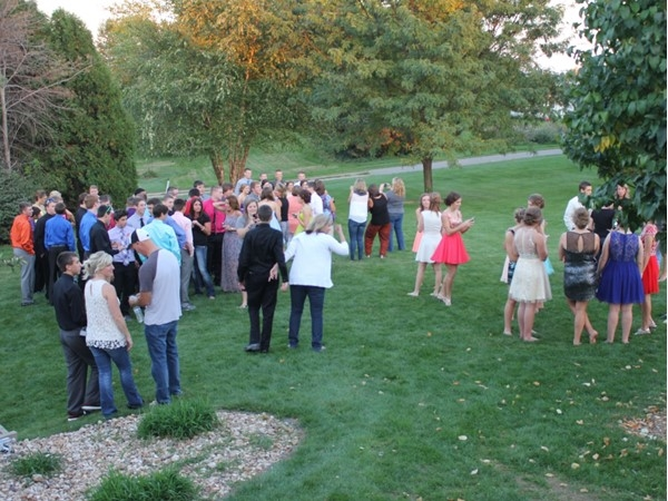 My son's classmates gather before West Dubuque High Schools Homecoming for a pre-event meal