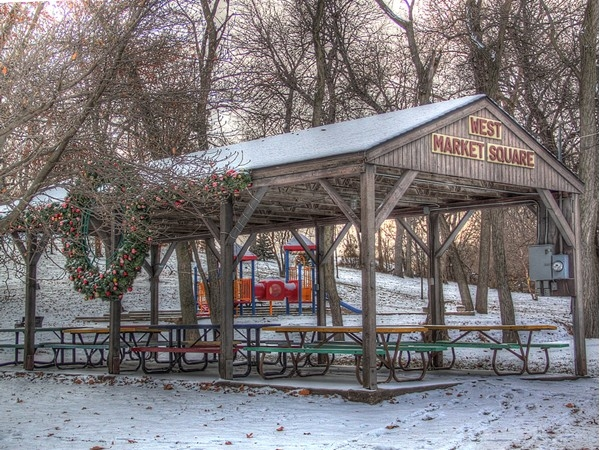 West Market Square city park decorated for the holidays