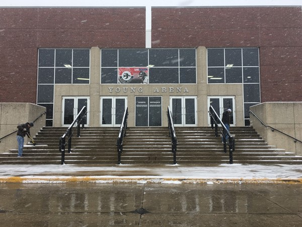 Snowy day at Young Arena