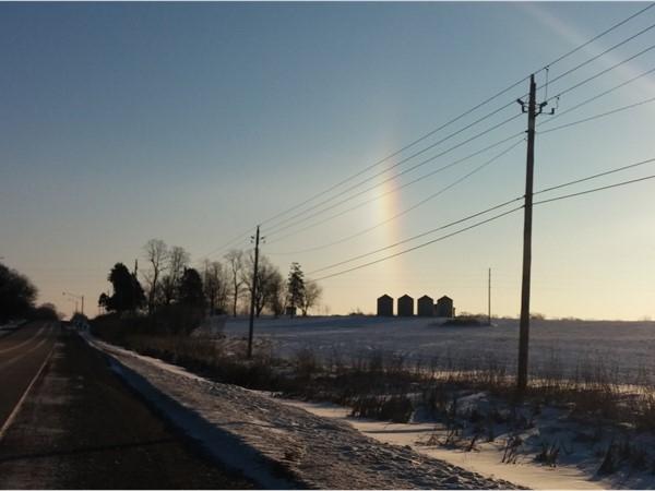 "A beautiful drive in to Waterloo on a ""Sundog"" kind of January morning"