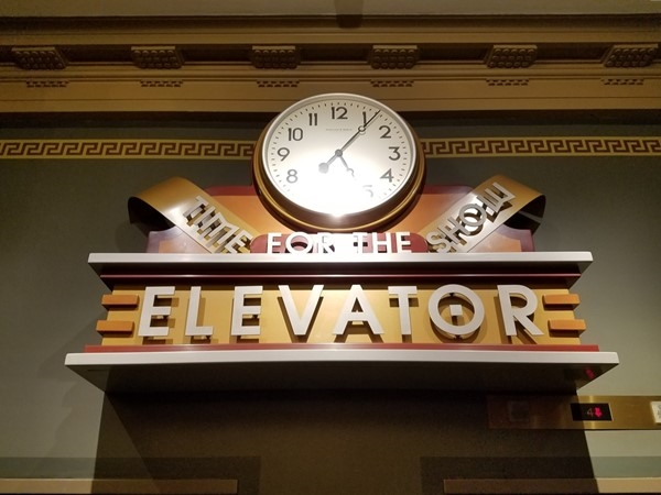 Elevator sign at Temple for Performing Arts Building