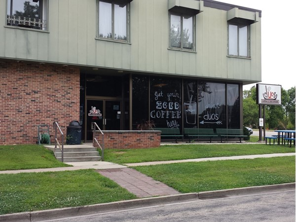 Duos Coffee Shop is a great place to grab a cup of coffee and a treat; across from Wartburg College