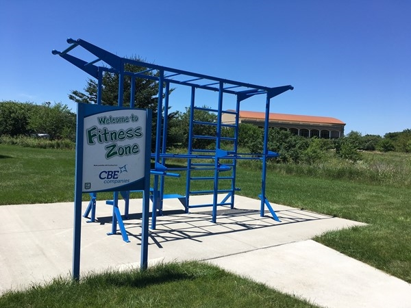 """Prairie Lakes walking trail has several """"Fitness Zone"""" stops sponsored by local companies"""