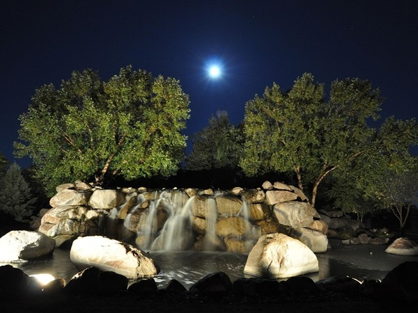 Full moon over the waterfall entrance to Wilderness Ridge at 5:00 a.m.