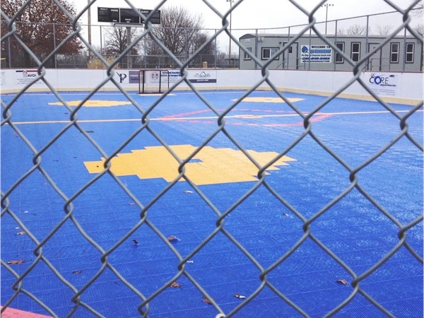 Deck Hockey at the park too! No problem! You can even rent the rinks for parties too