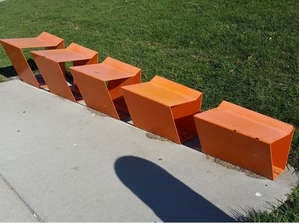 Vanishing Point is the name of this sculpture. You can see it in Gene Leahy Mall