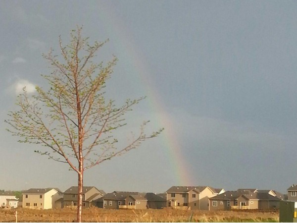 Rainbow over Rock Creek development after an Iowa rain storm.