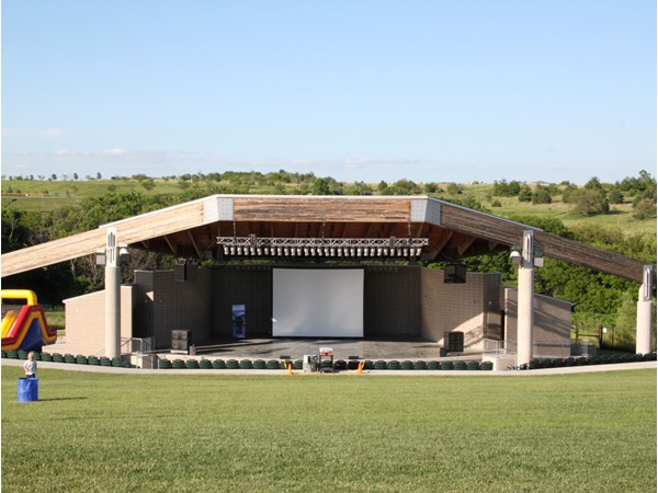 Getting ready to enjoy a movie at the open air outdoor amphitheater