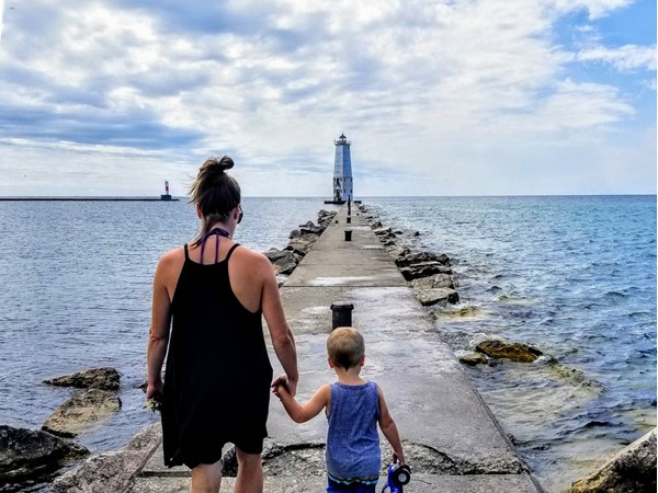 Great day to walk the pier at Frankfort Lighthouse